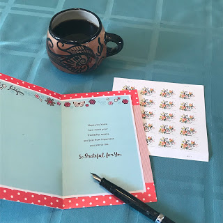 card, stamps, coffee