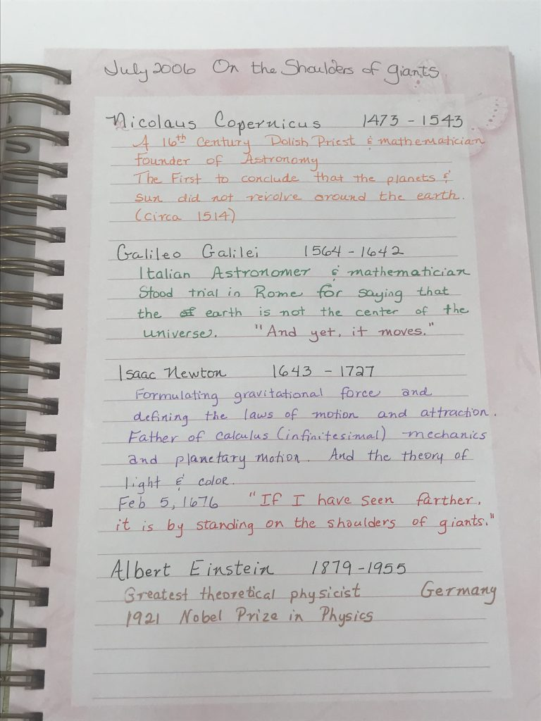 page of a notebook with colored ink
