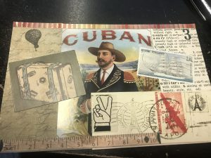handmade postcard with cigar label, dictionary page, postage