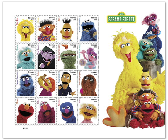sheet of stamps feauturing Sesame Street characters