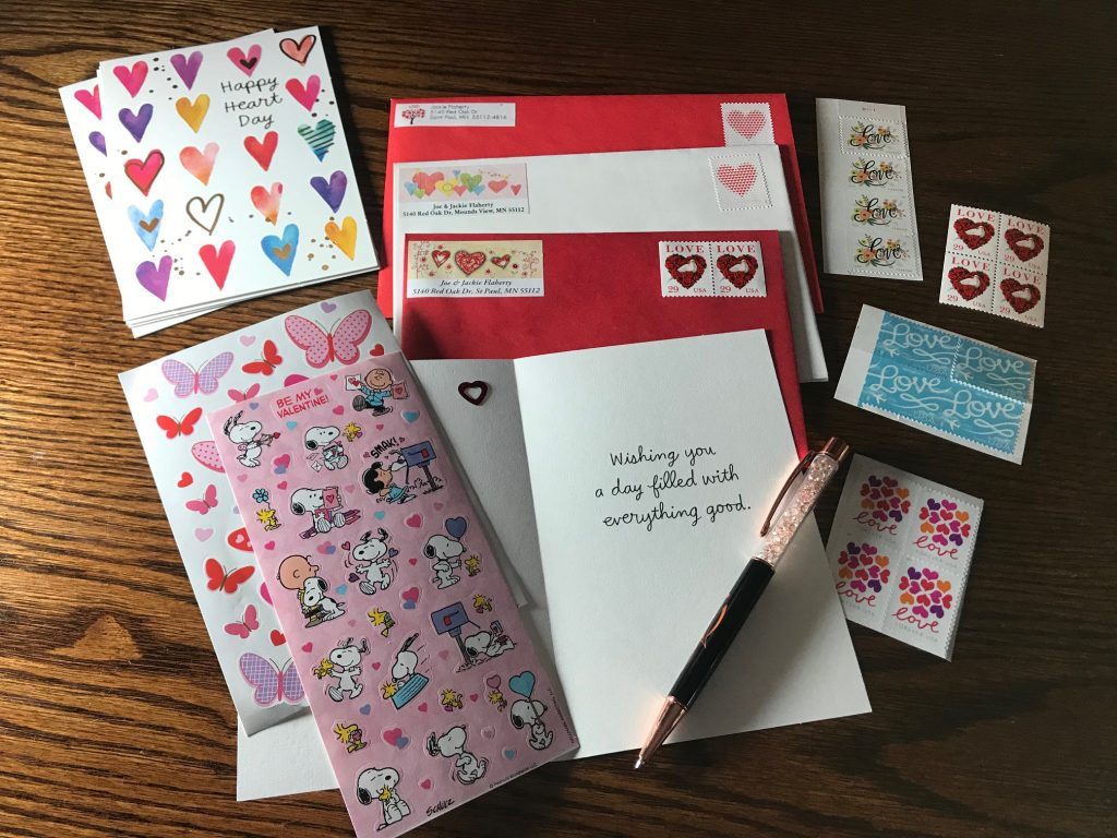 Valentine's writing supplies, postagestamps, pen