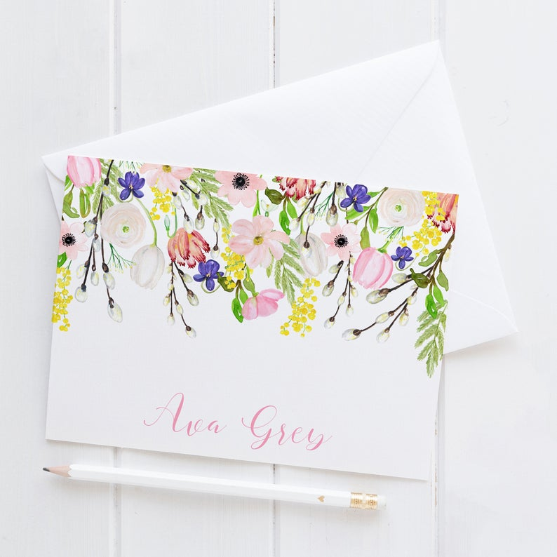 floral notecard personalized