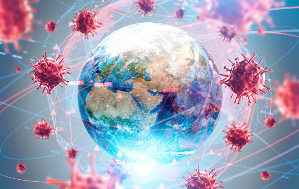 planet earth surrounded by viruses