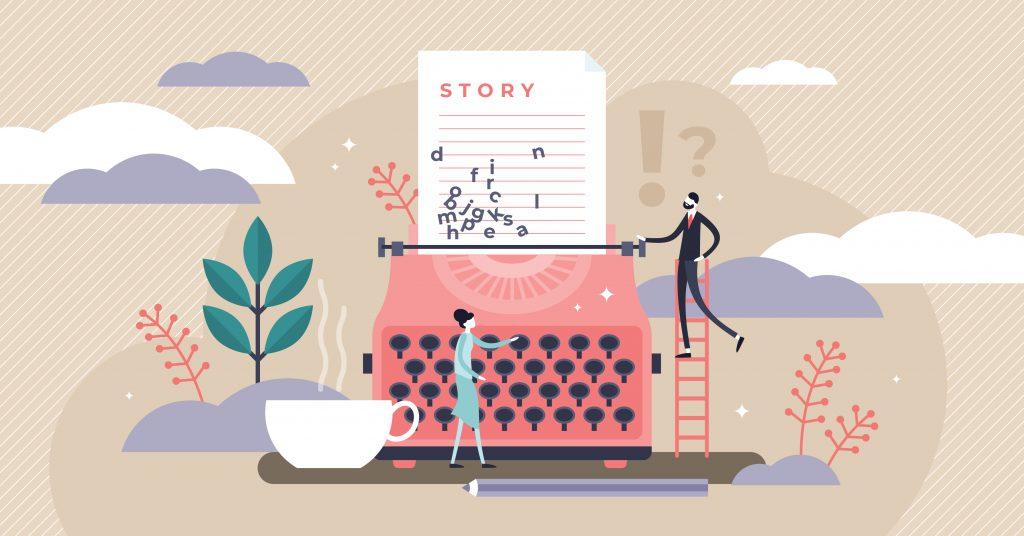 man woman typewriter