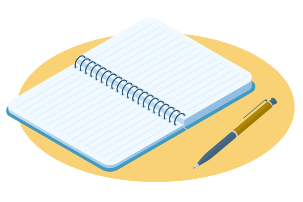 illustration of notebook and pen