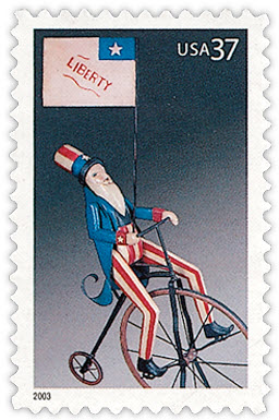 uncle sam on bicycle stamp