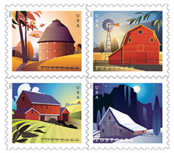 four different barn stamps