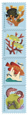 four stamps, coral reefs, postcard postage