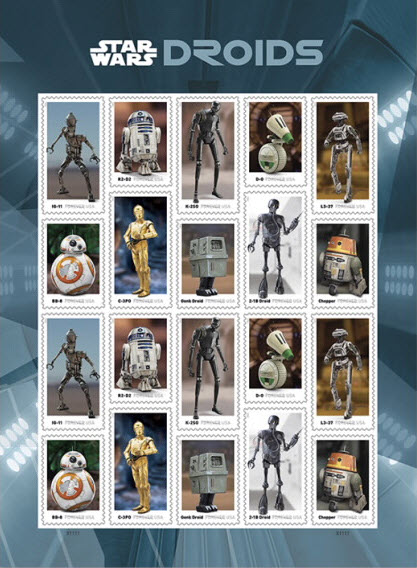 full sheet of unused star wars droid stamps released in 2021