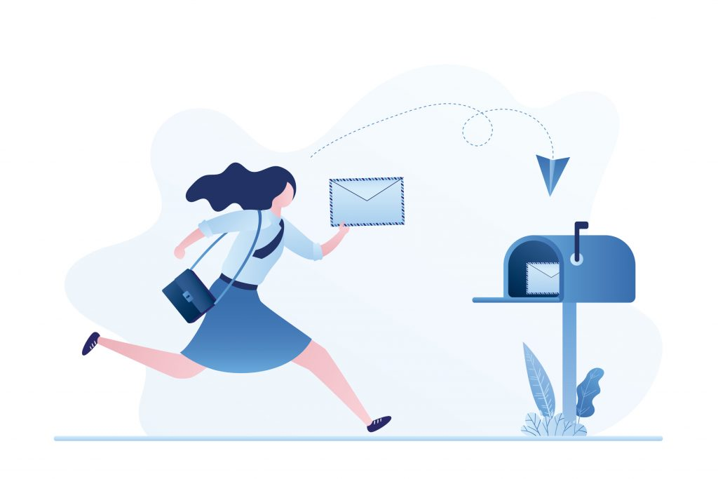 illustration of girl running with letter to mailbox