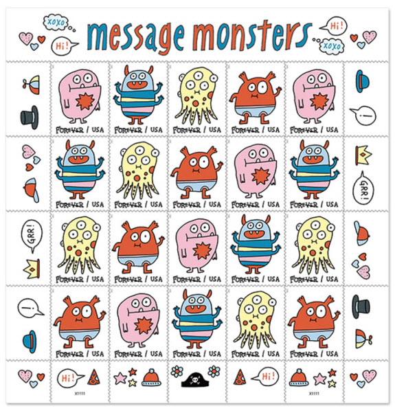 cartoon monsters postage stamp