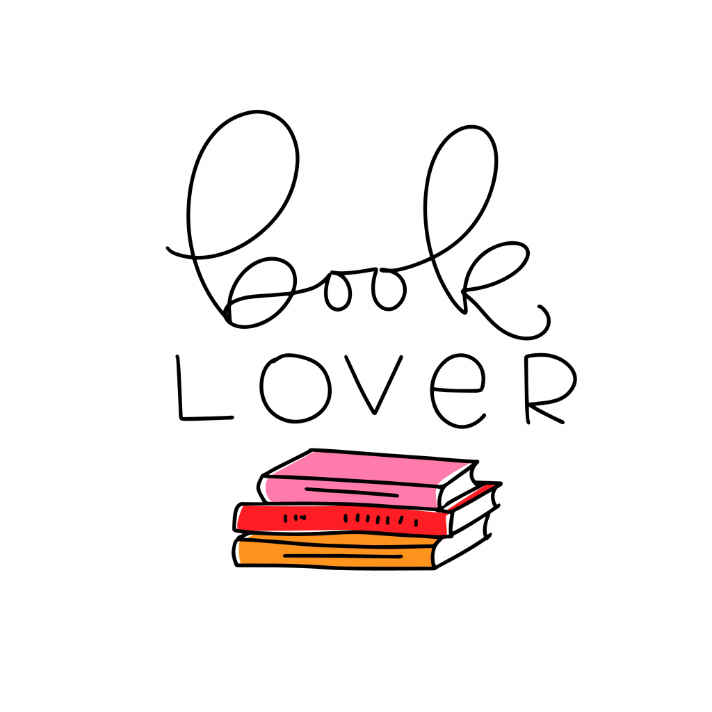 book lover words with an illustrated short pile of books