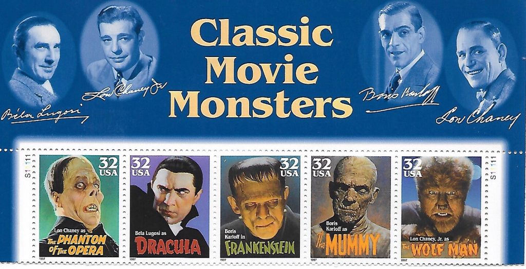 classic movie monster pane of usa postage stamps