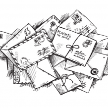 B&W illustration of a collection of letters