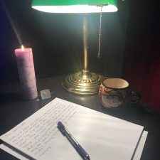 lamp, candle, pen, paper