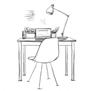 b&w illustration of simple chair and desk