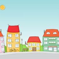 color illustration of houses and town